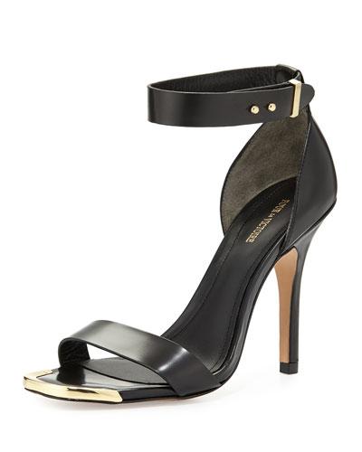 Yaya Leather Ankle-Wrap Sandal, Black