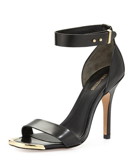 Pour la Victoire Yaya Leather Ankle-Wrap Sandal, Black