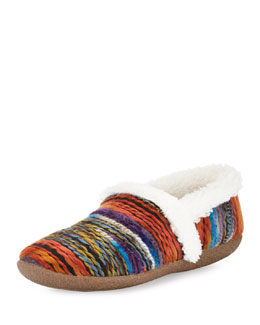 Striped Faux-Fur Slipper, Orange