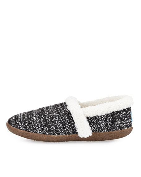 Boucle Faux-Fur Slipper, Black/White
