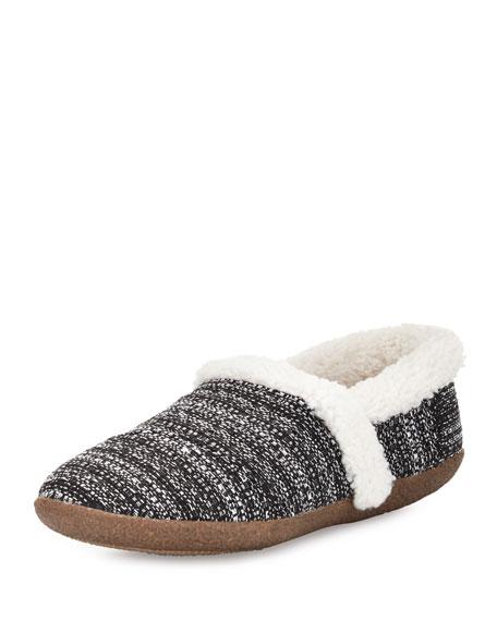 TOMS Boucle Faux-Fur Slipper, Black/White