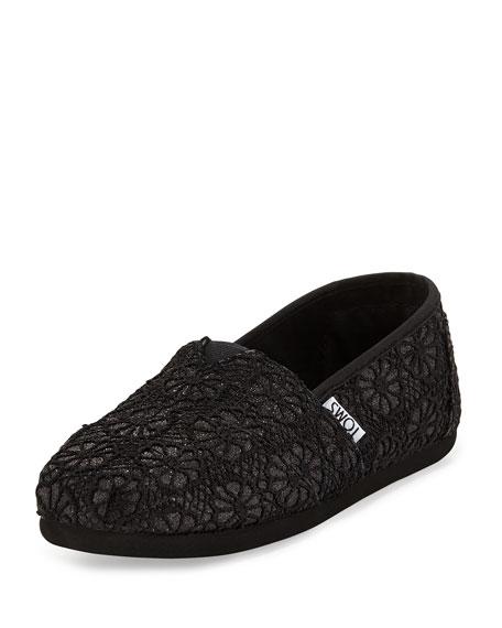 Classic Glitter Crochet Slip-On, Black