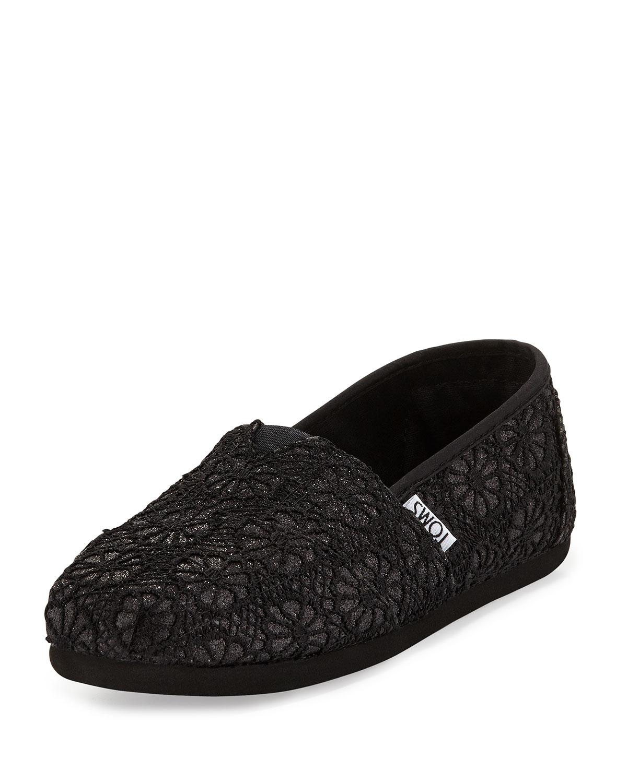 Toms Classic Glitter Crochet Slip On Black Neiman Marcus