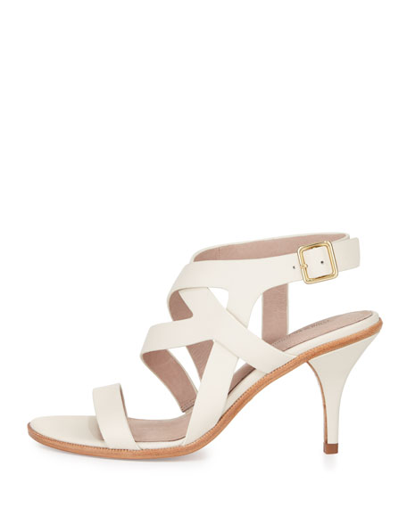 Maura Strappy Leather Sandal, Cream