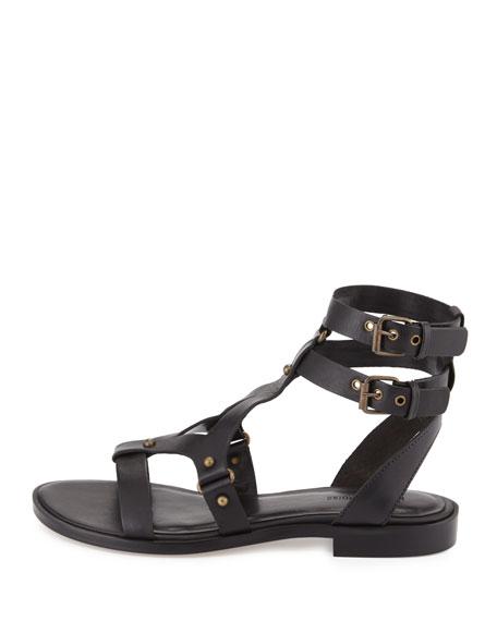 Neda Strappy Flat Sandal, Black