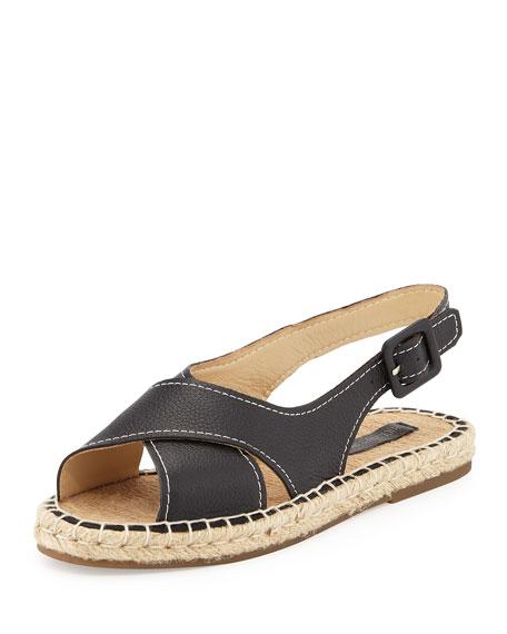 Pour la Victoire Olivia Leather Espadrille Sandal, Black