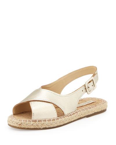 Olivia Leather Espadrille Sandal, Gold