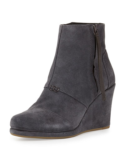Desert Suede Wedge Bootie, Dark Gray