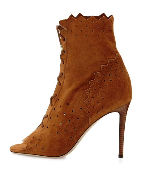Dei 100mm Suede Open-Toe Lace-Up Bootie, Canyon