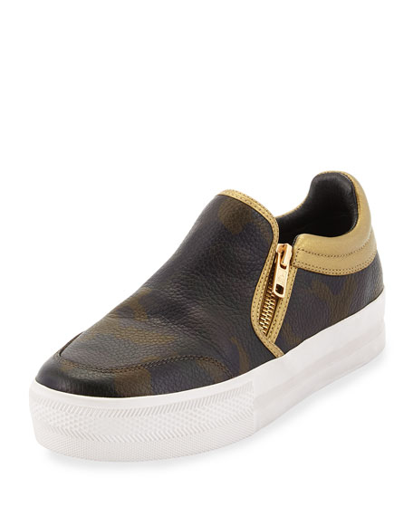 Jordy Camo-Print Leather Skate Sneaker, Army/Antique Gold