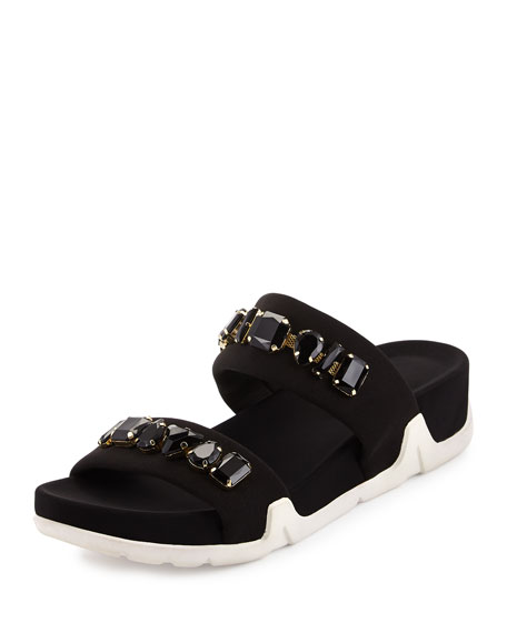 Ash Oman Jeweled Slide Sandal Black Neiman Marcus