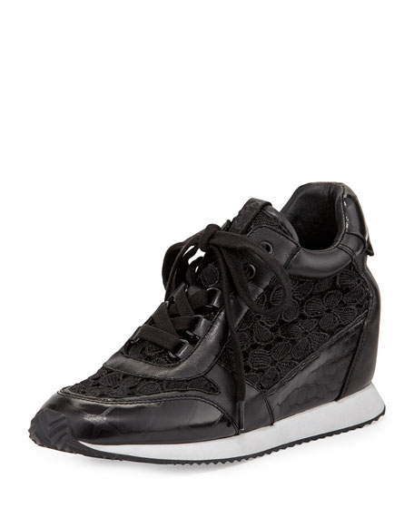 Ash Dream Lace Wedge Sneaker, Black