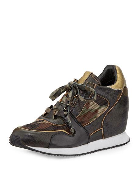 Ash Dean Camouflage-Print Wedge Sneaker, Army/Desert/Black