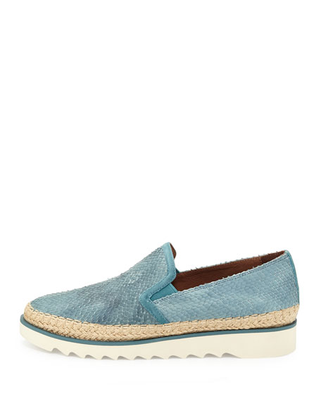 Millie Leather Slip-On Sneaker, Teal