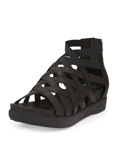 Airy Caged Leather Sneaker, Black