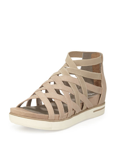 Airy Caged Leather Sneaker, Barley