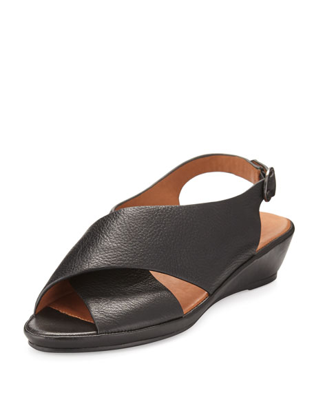 Gentle Souls Lilian Crisscross Demi-Wedge Sandal, Black