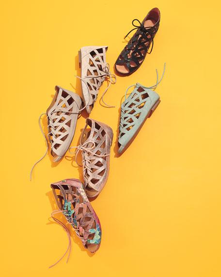 Brielle Lace-Up Flat Cutout Sandal, Rose Gold