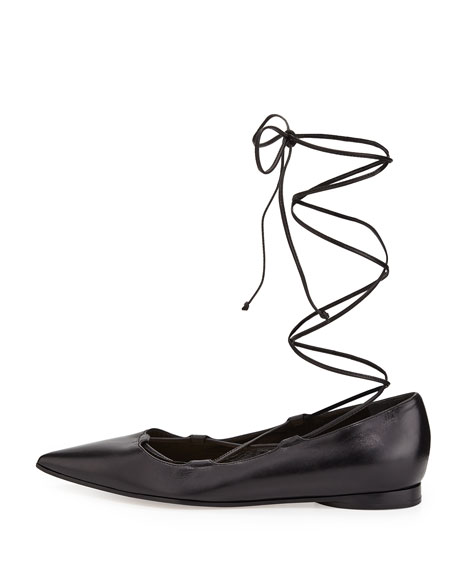 Kallie Leather Lace-Up Flat, Black