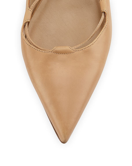 Kallie Leather Lace-Up Flat, Toffee