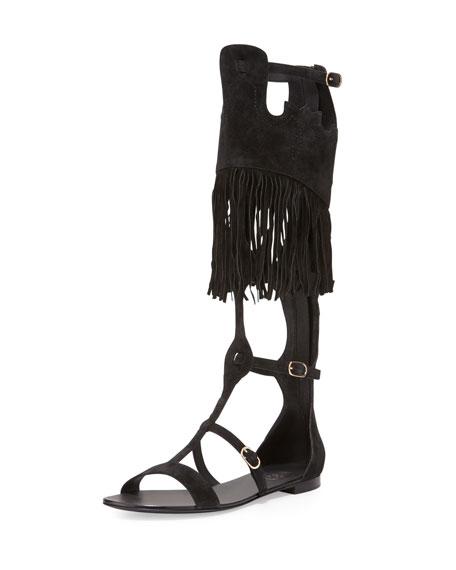Ash Margot Tall Suede Gladiator Sandal, Black