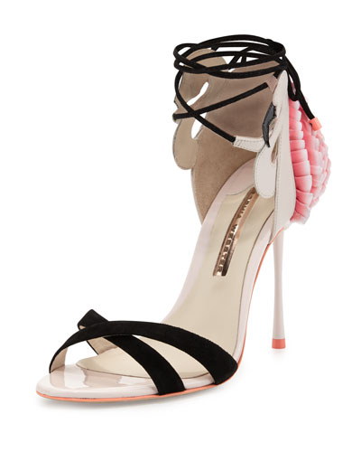 Flamingo Frill Ankle-Wrap Sandal, Heavenly Pink