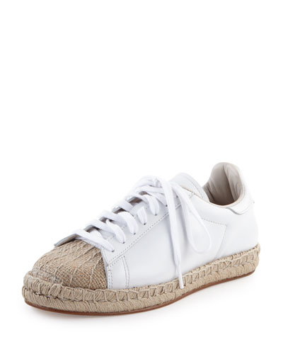 Rian Leather Espadrille Sneaker, Optic White