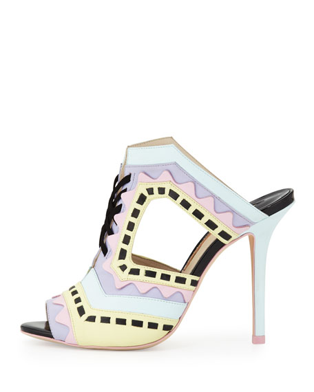 Riko Colorblock Mule Sandal, Aqua