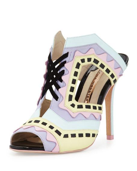 Sophia Webster Riko Colorblock Mule Sandal, Aqua