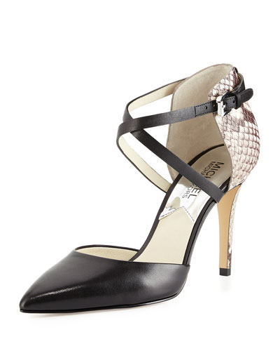 Alexia Two-Tone Strappy d'Orsay Pump, Black/Natural