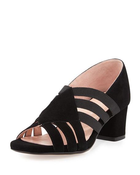Taryn Rose Rilee Suede Chunky-Heel Sandal, Black