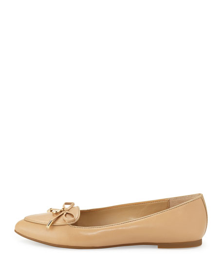 Nancy Leather Bow Flat, Nude