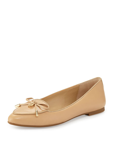 MICHAEL Michael Kors Nancy Leather Bow Flat, Nude