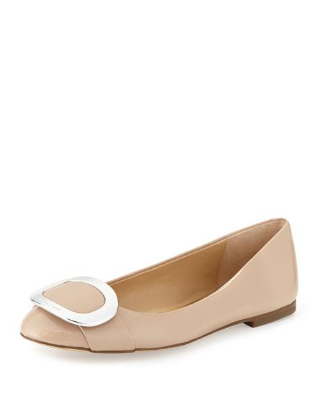 MICHAEL Michael Kors Pauline Patent Ballerina Flat, Light Blush