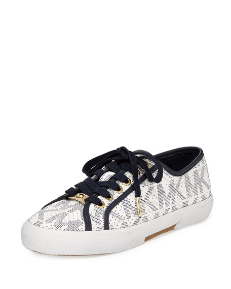 MICHAEL Michael Kors Boerum Lace-Up Low-Top Sneaker, White/Navy