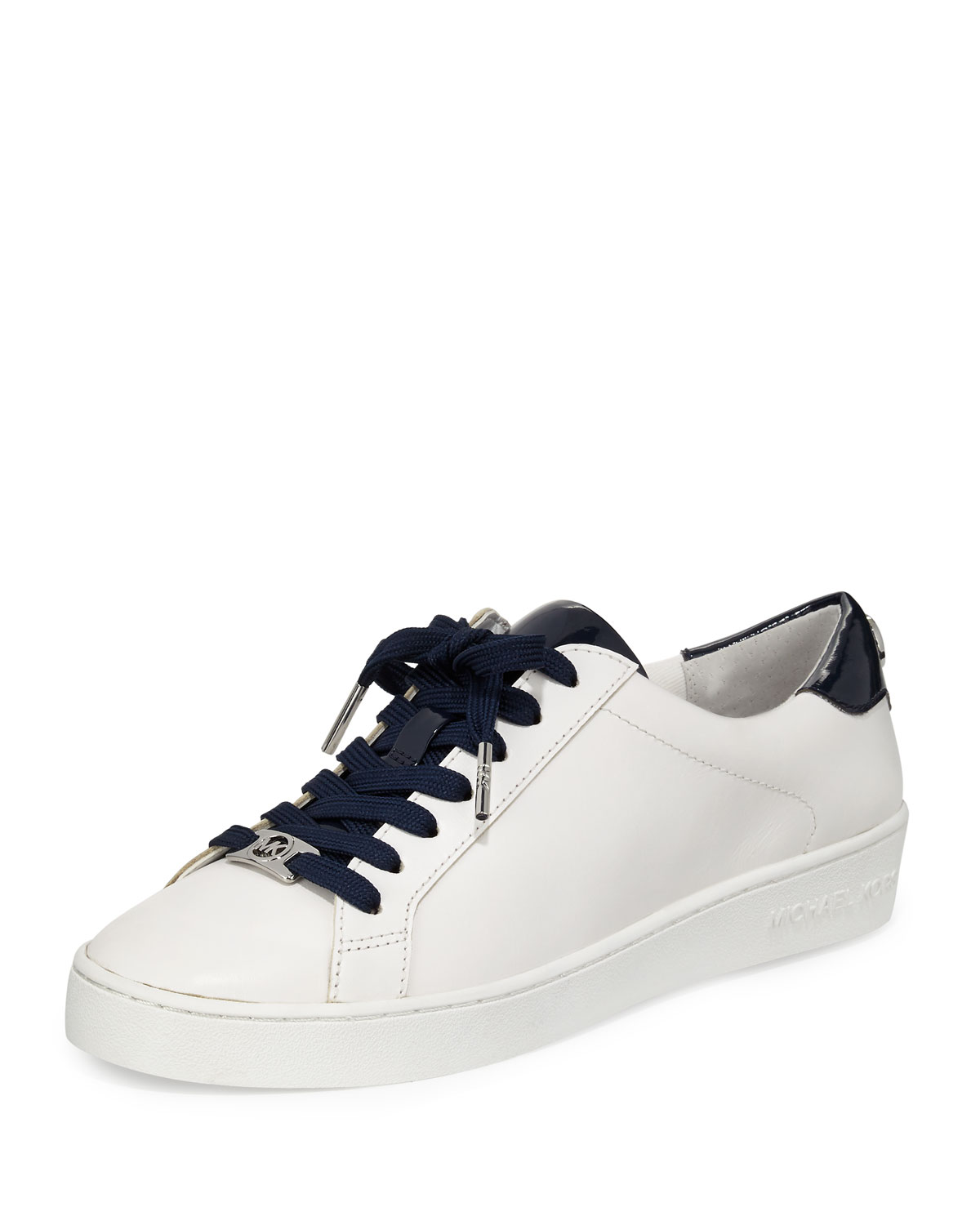 64cb2723a583 MICHAEL Michael Kors Irving Leather Lace-Up Sneaker, Optic White/Navy