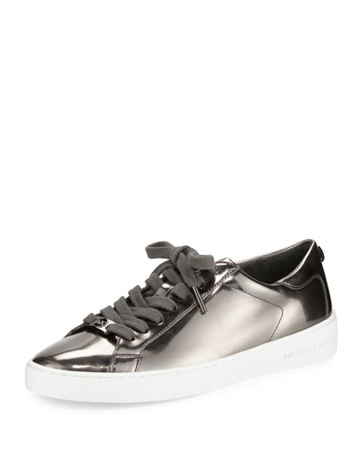Keaton Mirrored Lace-Up Sneaker, Gunmetal