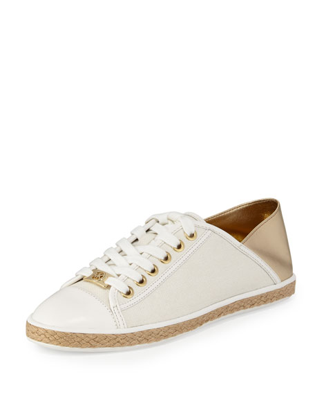 Kristy Lace-Up Low-Top Sneaker, Pale Gold