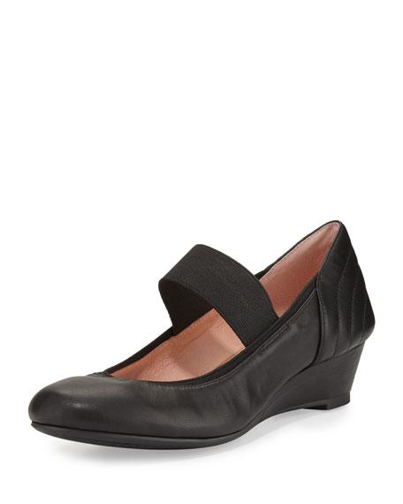 Taryn Rose Pirro Leather Demi-Wedge Pump, Black