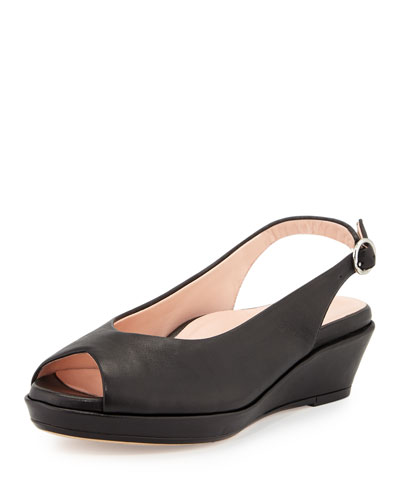 Tellie Leather Slingback Sandal, Black