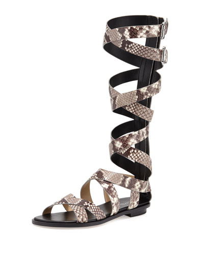 Darby Embossed Gladiator Sandal, Natural