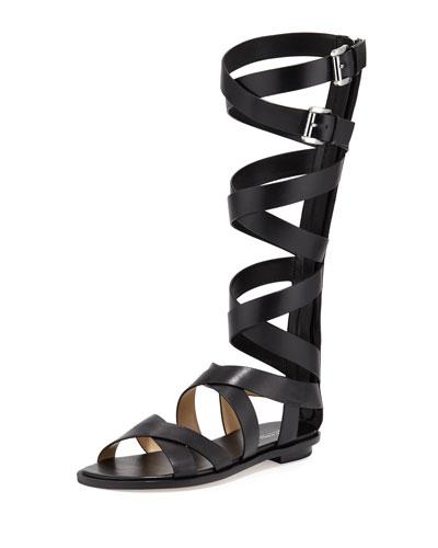 Darby Leather Gladiator Sandal, Black