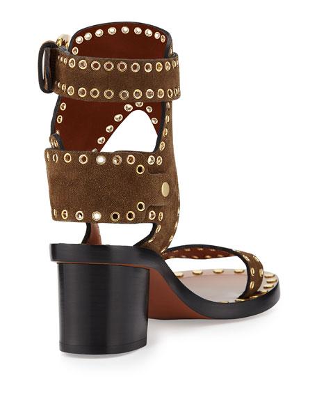 128136e211 Isabel Marant Jaeryn Studded Two-Tone Ankle-Wrap Sandal, Brown
