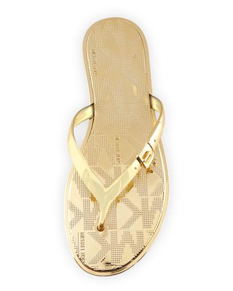Emory Buckle Flat Thong Sandal, Gold