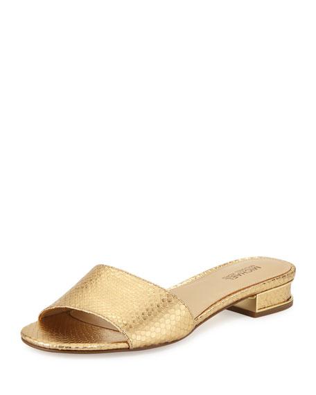 MICHAEL Michael Kors Joy Snake-Embossed Slide Sandal, Gold