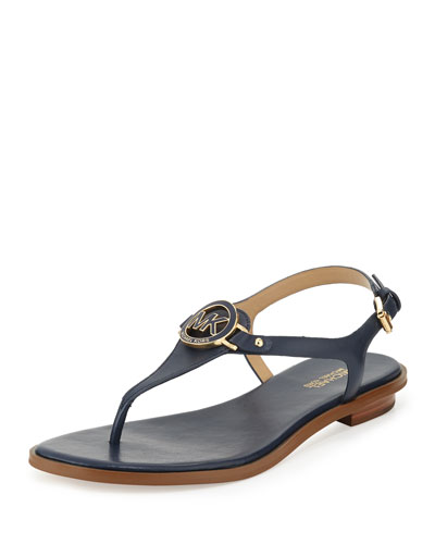 Lee Leather Flat T-Strap Sandal, Navy