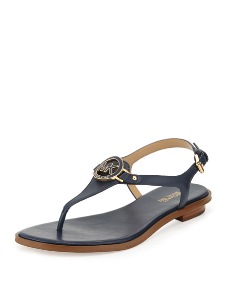 MICHAEL Michael Kors Lee Leather Flat T-Strap Sandal, Navy