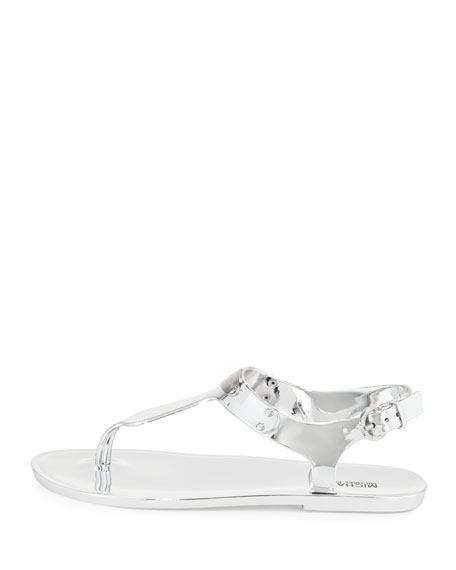 MK Plate Jelly Flat Thong Sandal, Silver