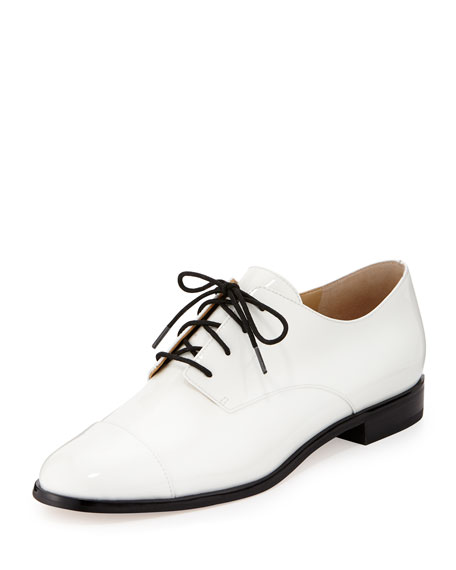 MICHAEL Michael Kors Pierce Patent Cap-Toe Oxford, White