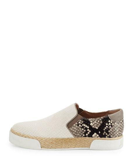 Banks Snake-Embossed Slip-On Sneaker, White/Putty